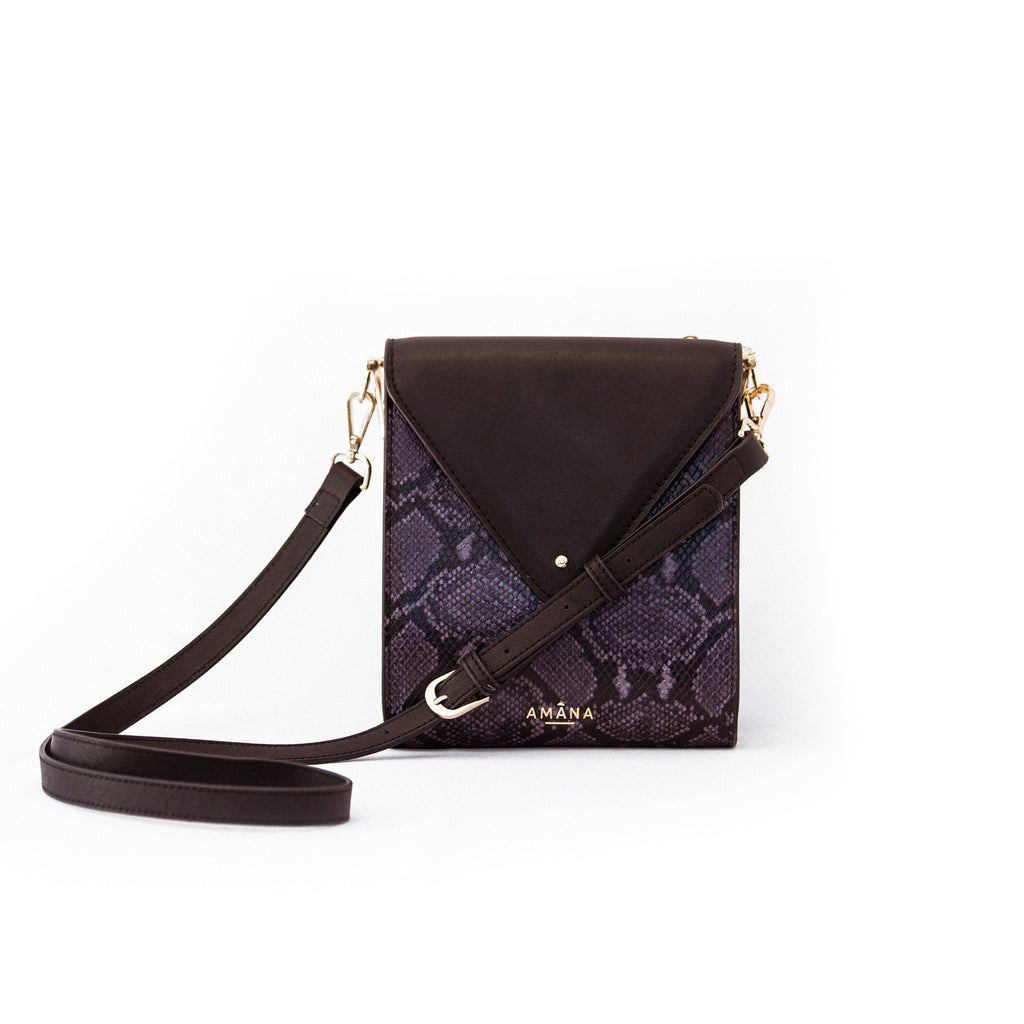 Women's Genuine Leather Python Print Small Sling Bag