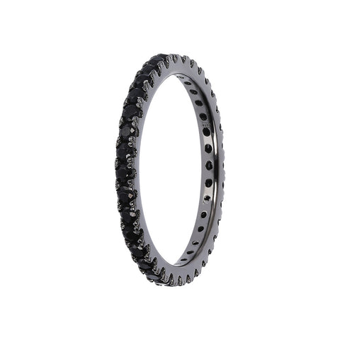 ACQUA MISTERO cz band ring  - SPINELLO NERO - WSOX00362