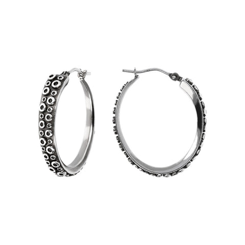 ACQUA  OCTOPUS TEXTURE OVAL HOOP EARRINGS  - WSOX00363