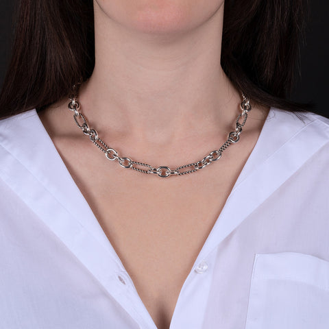 ARIA ALTERNATE SHINY AND TWIST LINK NECKALCE  - WSOX00309