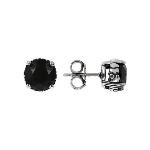 ARIA BUTTON EARRING WITH FACETED BLACK SPINEL GEMSTONE - WSOX00119 frontale e laterale