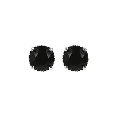 ARIA BUTTON EARRING WITH FACETED BLACK SPINEL GEMSTONE - WSOX00119