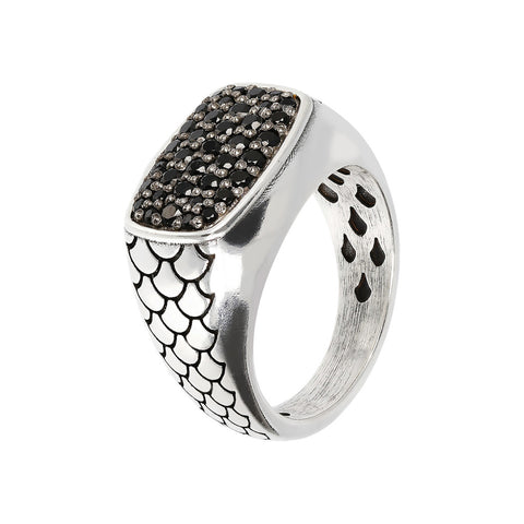 Anello Argento 925 Mermaid Texture e Black Spinel