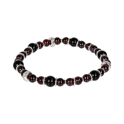 Black Onyx and Garnet Stretch Bracelet