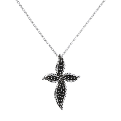 Black Spinel Cross Necklace