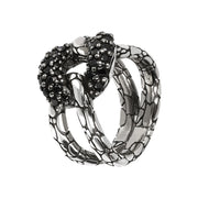 Black Spinel Snake Knot Ring con SPINELLO NERO