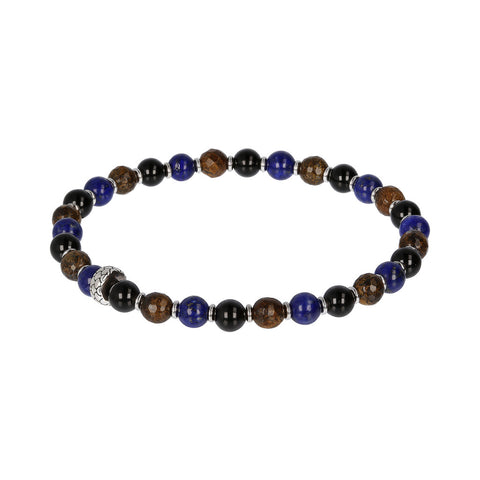 Bronzite Black Onyx and Lapis Bracelet