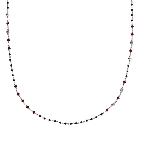 Collana Rosario Black Spinel e Granate