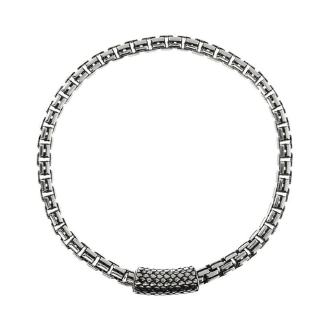 FUOCO BOX CHAIN WITH TEXTURE MAGNETIC CLASP MEN'S  BRACELET  - WSOX00358