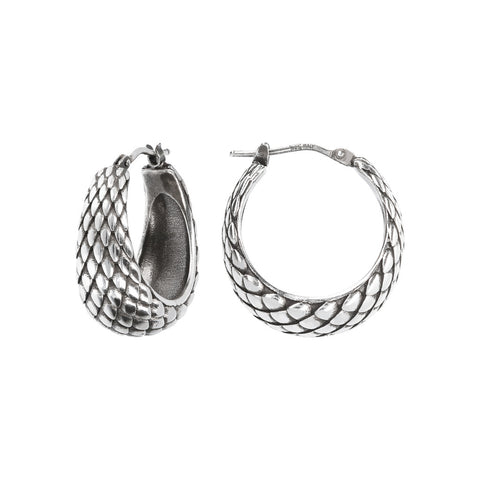 FUOCO TEXTURE HOOP  EARRINGS - WSOX00321 frontale e laterale