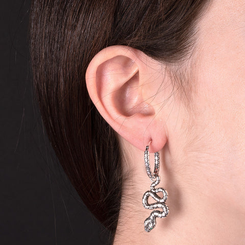 HOOP EARRINGS WITH SNAKE PENDANT  - WSOX00324