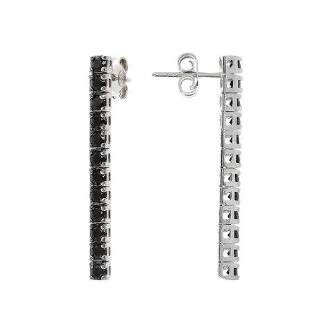 Long Black Spinel Earrings frontale e laterale