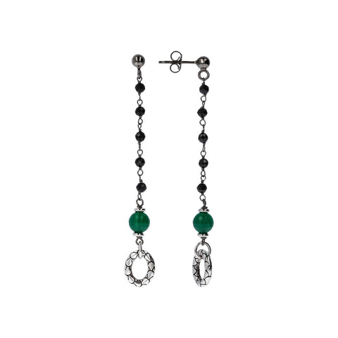 Long Earrings with Green Onyx frontale e laterale