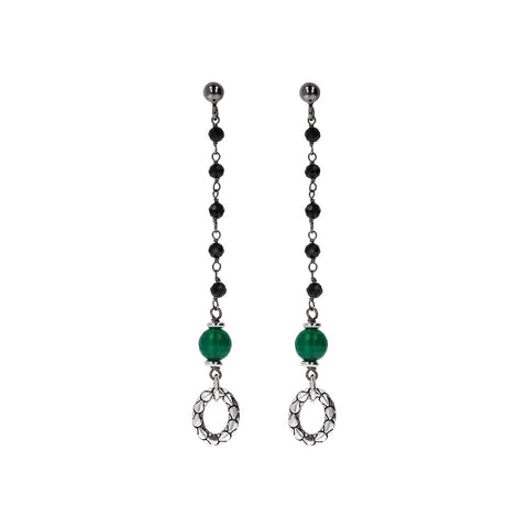 Long Earrings with Green Onyx