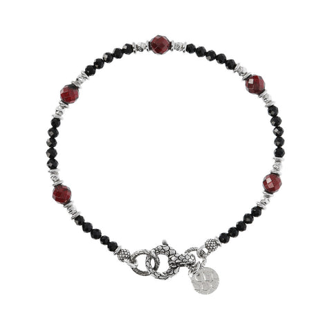 MISTERO BLACK SPINEL & GARNET FACETED GEMSTONE BRACELET - WSOX00144