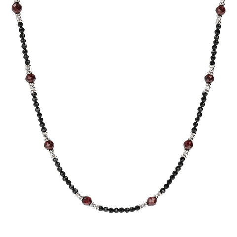 MISTERO BLACK SPINEL & GARNET FACETED GEMSTONE NECKLACE - WSOX00136