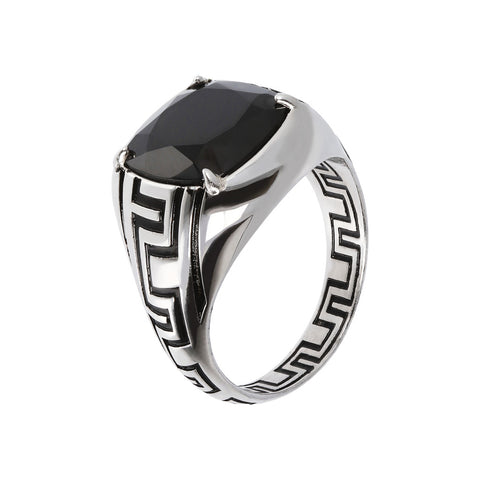 MISTERO MIRAGE GREEK LINE MEN RING WITH BLACK SPINEL GEMSTONE - WSOX00227