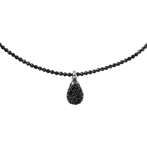 MISTERO TEXTURED NECKLACE WITH BLACK SPINEL GEMSTONE  - WSOX00306