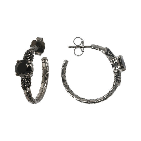 Orecchini a Cerchio Mermaid Texture Black Spinel con SPINELLO NERO frontale e laterale