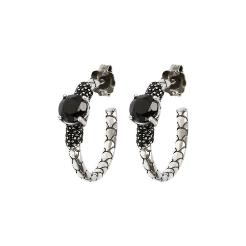 Orecchini a Cerchio Mermaid Texture Black Spinel con SPINELLO NERO