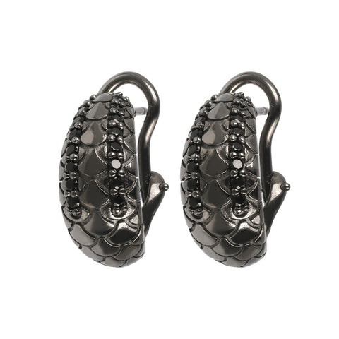 Orecchini Mermaid Texture Black Spinel  con SPINELLO NERO
