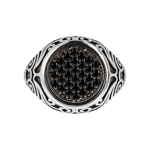 montatura del Seal Ring with Black Spinel Pavè