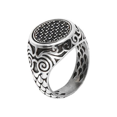 Seal Ring with Black Spinel Pavè