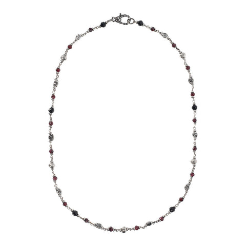 Silver Garnet and Spinel Mermaid Necklace intero