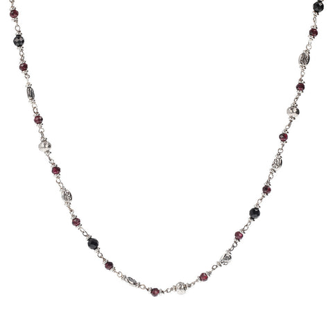 Silver Garnet and Spinel Mermaid Necklace