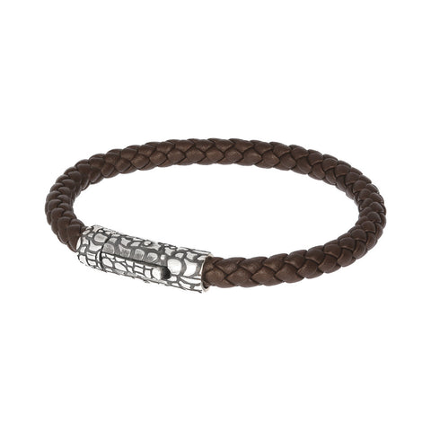 Snake Rope Bracelet-BROWN LEATHER