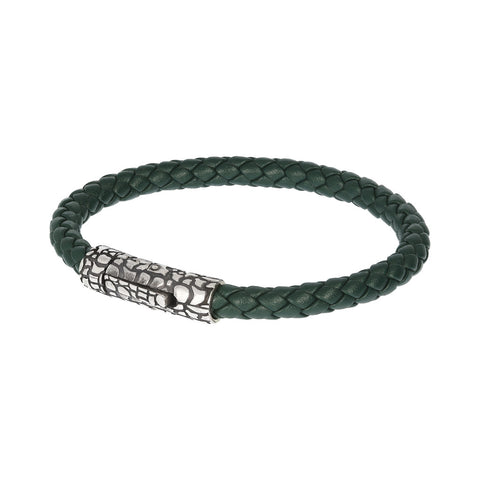 Snake Rope Bracelet-GREEN LEATHER