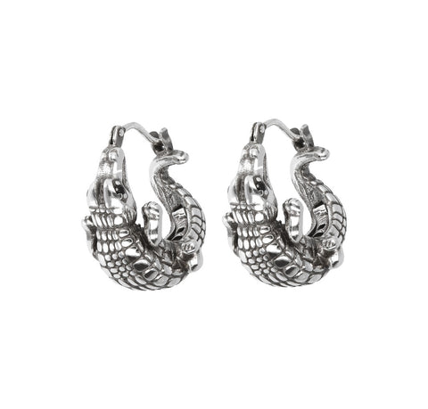TERRA CROCODILE TEXTURE  HOOP EARRINGS  - WSOX00326