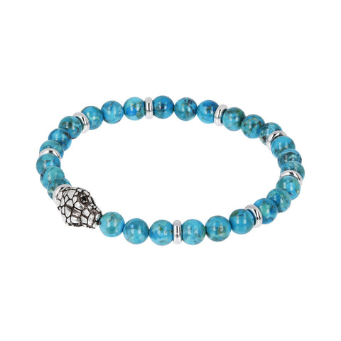 TERRA GEMSTONE BRAD STRETCH BRACELET WITH SNAKE HEAD  - WSOX00210 con TURCHESE