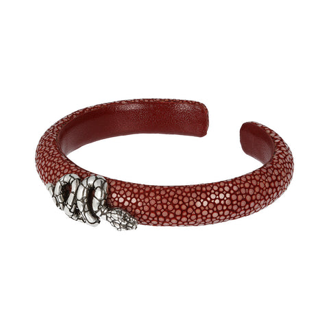 TERRA RAZZA BANGLE WITH SNAKE TEXTURE ELEMENT ON TOP  - WSOX00329