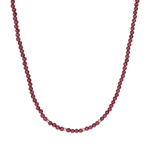 TERRA ROUND PLAIN GEMSTONE BEADS NECKLACE - GRANATO - WSOX00209