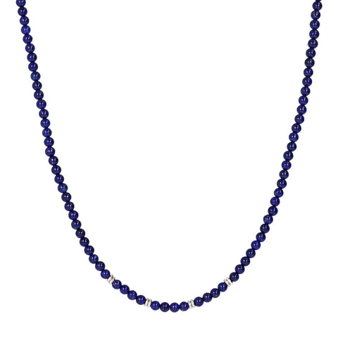 TERRA ROUND PLAIN GEMSTONE BEADS NECKLACE - LAPIS - WSOX00209