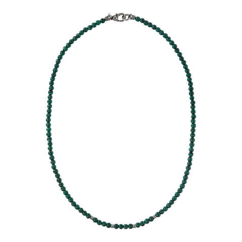 TERRA ROUND PLAIN GEMSTONE BEADS NECKLACE - MALACHITE - WSOX00209