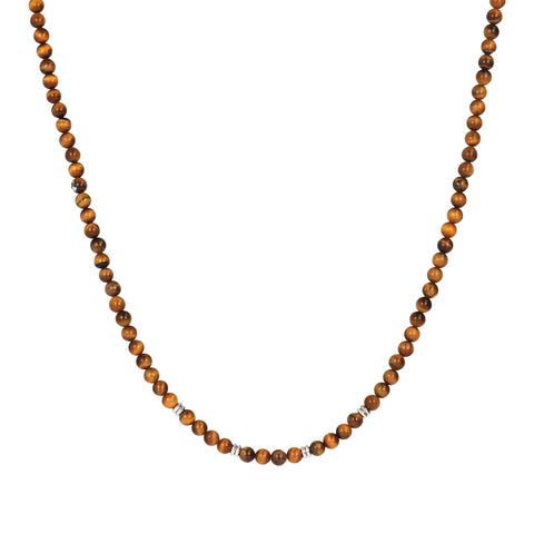 TERRA ROUND PLAIN GEMSTONE BEADS NECKLACE - OCCHIO DI TIGRE - WSOX00209