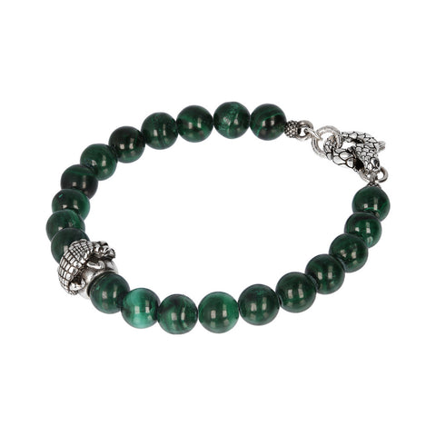 TERRA gemstone plain bead bracelet with crocodile roundel  - WSOX00370 con MALACHITE