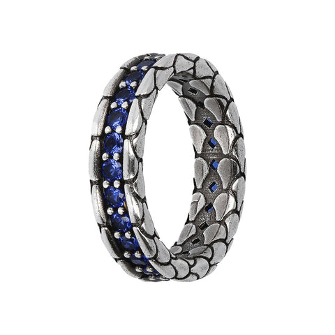 TEXTURED RING WITH CHOICE OF GEMSTONE - CUBIC ZIRCONIA BLU - WSOX00365