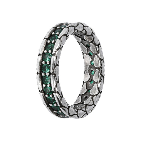 TEXTURED RING WITH CHOICE OF GEMSTONE - CUBIC ZIRCONIA VERDE - WSOX00365