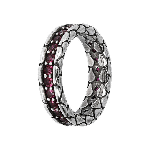 TEXTURED RING WITH CHOICE OF GEMSTONE - RODOLITE - WSOX00365