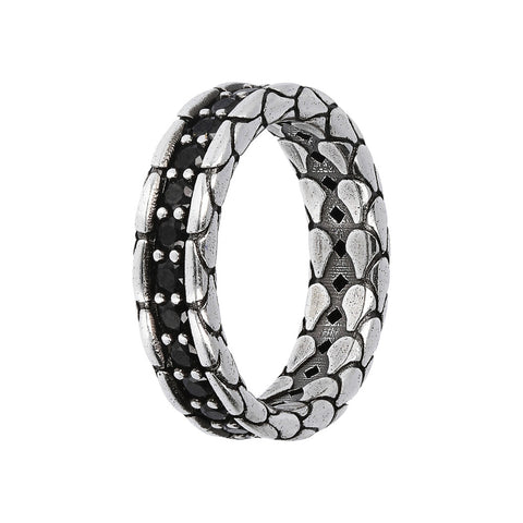TEXTURED RING WITH CHOICE OF GEMSTONE - SPINELLO NERO - WSOX00365
