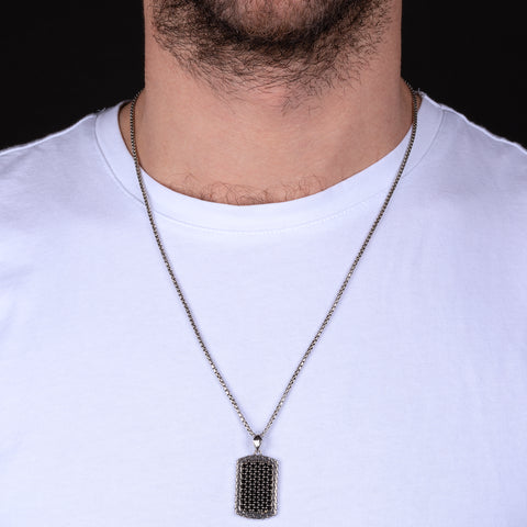 MEN RECTANGULAR TEXURED PENDANT WITH BLACK SPINEL GEMSTONE