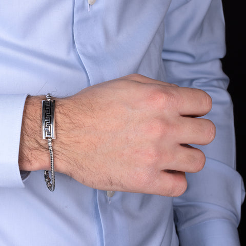 MISTERO TARGA MEN BRACELET WITH GREEK LINE  - WSOX00303