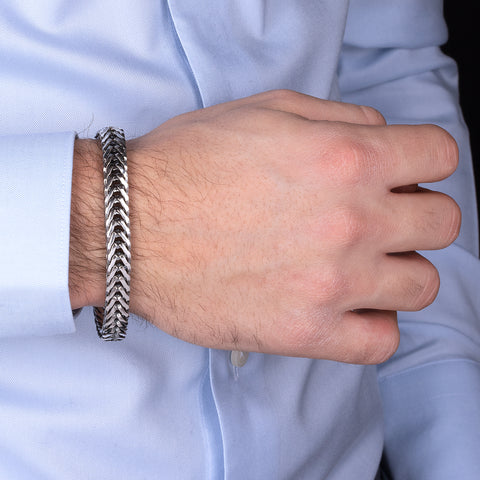 FUOCO FANCY CHAIN WITH TEXTURE CLASP MEN'S  BRACELET - WSOX00359