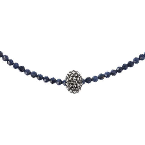 ACQUA SAPPHIRE GEMSTONE BEAD NECKLACE WITH SEA UNCHIL ELEMENT  - WSOX00367