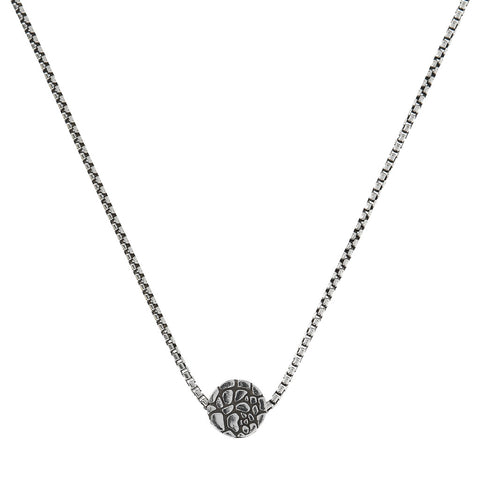 chain men necklace with round texture pendant  - WSOX00228