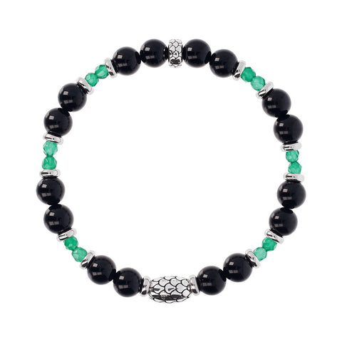 Black Onyx and Green Agate Mermaid Bracelet