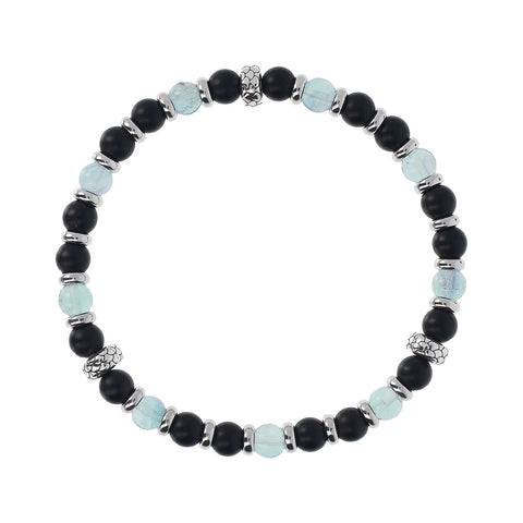 Onyx and Opaque Sapphire Mermaid Stretch Bracelet
